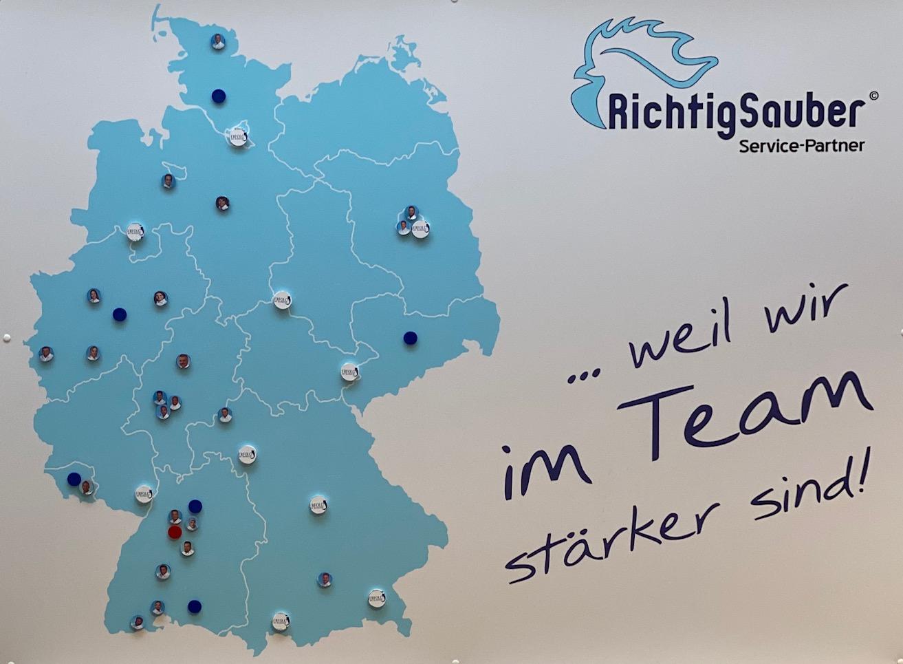 Eine Deutschlandkarte zeigt alle Richtig Sauber Standorte und EMR Teilnehmer.